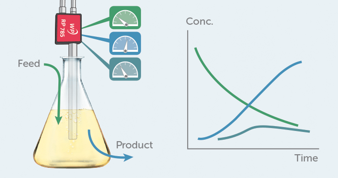 Schematic showing Raman monitoring of a bioprocess in real time.