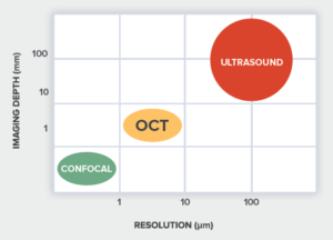 Comparison of OCT to ultrasonic inspection and confocal microscopy.